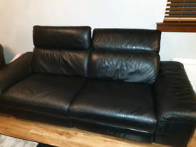 Dfs 3 seater reclining black soft leather sofa couch