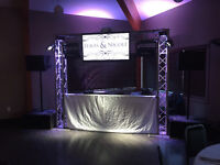 Wedding Video Dj Service  BackDrop and Lighting For Head Table