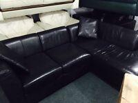 Small black leather corner sofa