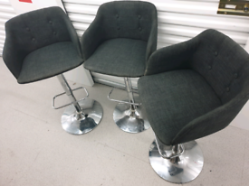 Free Delivery 3 Grey and Chrome Bar Stools