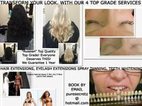 HAIR EXTENSIONS,EYELASH EXTENSIONS,TEETH WHITENING,SPRAY TANS