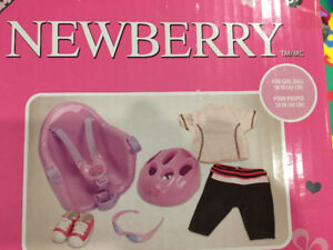 "NEWBERRY BICYCLE SEAT & CLOTHING FOR 18"" DOLLS BRAND NEW"