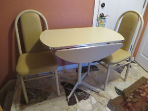 Vintage table and two chairs, perfect for small apartment, condo