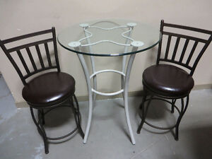~~~Brand New Bar Stools with glass top bar table and Bench
