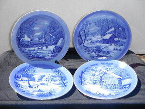 Set of Four Cobalt Blue Currier & Ives Plates.