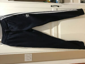 Adidas cuffed track pants- navy blue with three white stripes