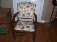 Antique Rocking Chair - New Upholstery Job Just Completed