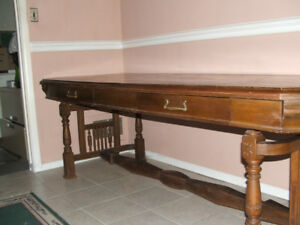 Stunning Antique Library Table in Red Oak