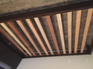 Queen bed frame with slats real wood