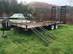 Heavy Duty Trailer 20' Platform With Side Ramps For 4 Wheeler