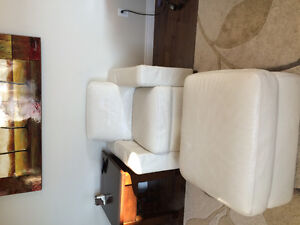 Natuzzi white leather couch set