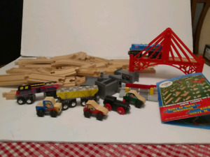 KodKraft Track 'N Trail Wooden Track with Cars Wagons Bridge