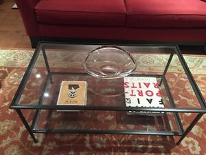 Crate and Barrel Glass Coffee Table and End Table