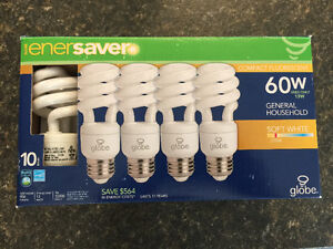 10 new and 21 minimally used 2700K soft white CFL bulbs