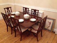 Dining table, 6 - 12 seat extending, and 6 chairs
