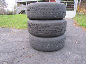 winter tires with 5 bolt Dodge rims, 225 60 R 16, one is in good
