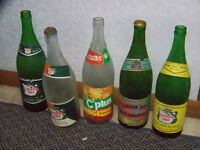 VINTAGE POP BOTTLES SOME WITH CAPS