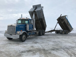 Tandem dump truck with pup trailer for Hire
