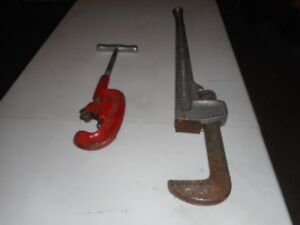 36 inch aluminum Ridjet pipe wrench , 2 inch pipe cutters