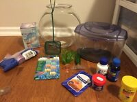 Fish tank for betta fish plus supplies