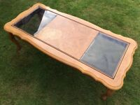 Gorgeous solid wood coffee table with glass inserts project