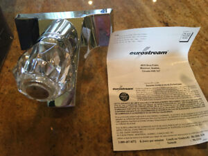 Sink Faucet Crystal Ball Silver Chrome Bath Loo NIB Replace Inst