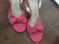 BCBG PINK SANDALS*** ties around the ankle *