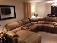 Genuine Leather 5 piece Sectional with electric reclining chair