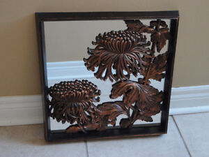 Decorative framed mirror backed floral wall art hanging accent