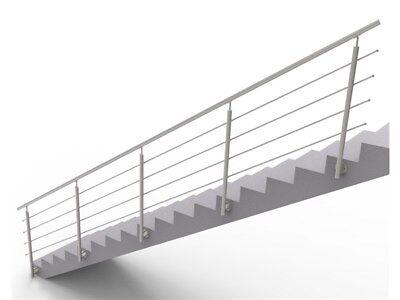 Handlauf Treppengeländer Brüstung Treppe Bausatz Edelstahl Wandmontage 6m x100cm