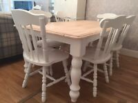 Gorgeous 6ft Shabby Chic Oak Farmhouse Table and 6 Lovely Chairs