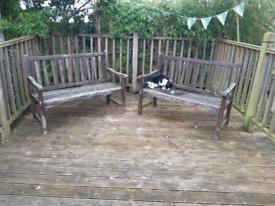 2 Wooden Garden Benches