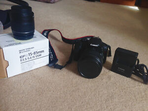 Canon T2i kit (with stock lens) and Canon 15-85mm lens kit (Set)