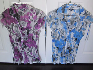 Blouses (2) Purple Tone and Blue Tone - Large - New