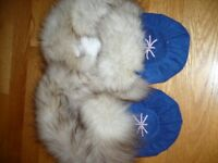 Blue suede slipper moccasins trimmed in rabbit fur