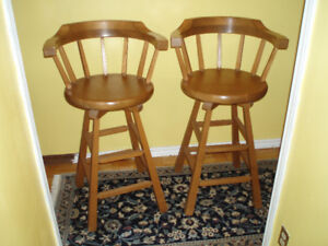 SOLID PINE BAR ARMCHAIRS, ALMOST BRAND NEW