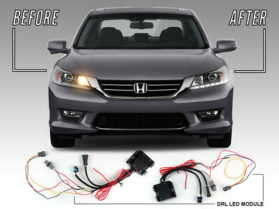 - Plug&Play LED DRL Adapter Module For 13-15 Honda Accord 4D 4Cyl to V6 Headlight