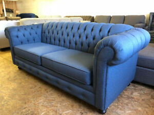 Brand New Blue Tufted Sofa - Canadian Made Chesterfield- $800