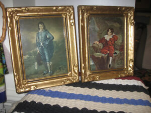 Two Beautiful Old Prints..Gainsborough's....Blue Boy and Red Boy