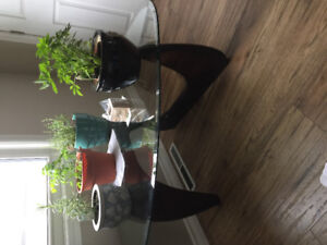 Vintage/Retro glass-top coffee table with two matching end table