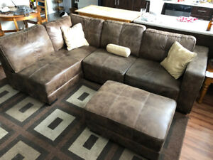 Distressed Brown Beautiful Sectional Couch with Ottoman
