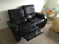 2 x Black Leather 2 Seater Reclining Sofas