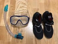 Snorkel Goggles, Wetsuit boots shoes Sz 7