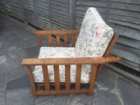 Vintage solid oak bed/ chair