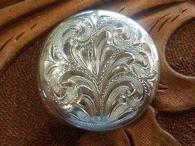 "1"" Vintage style Sterling Silver Overlaid  .925 Engraved Domed Concho Screw back"