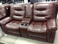 Brand new reclining console love seat, drop table sofa, recliner
