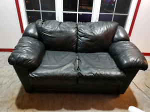 Free black leather loveseat