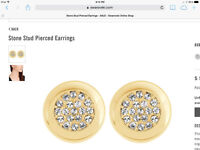 Swarovski Gold Stone Stud Pierced Earrings-- Brand New