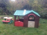Kids playhouse and picnic bench