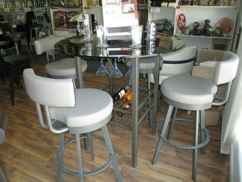 Pub style table and four bar stools dining tables